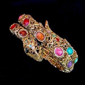 Jewelry - 40s Brass & Stone Snake Bracelet